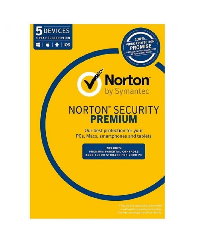 Norton Security Premium , OEM Software, Single Pack, 5 User, 1 Year License